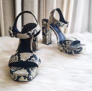 Via Spiga Saville Snakeskin Embossed Leather Heels